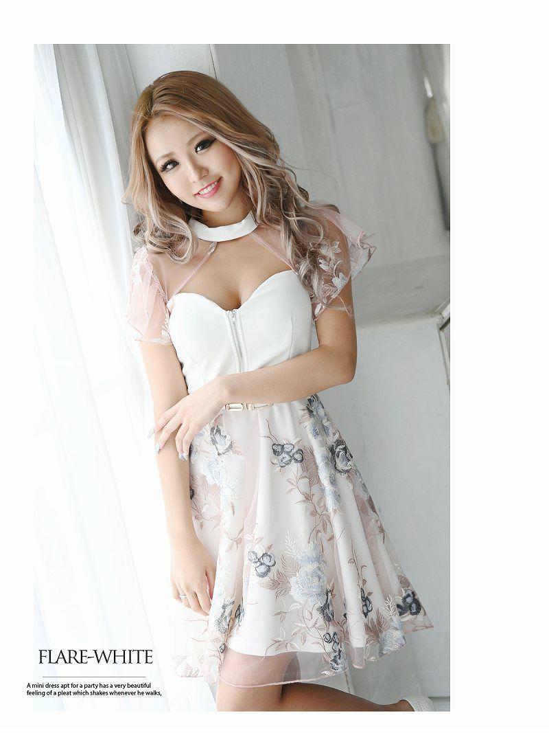 ベルト付き花柄刺繍レースミニドレス NATSUNE着用キャバクラドレス【Ryuyu/リューユ】