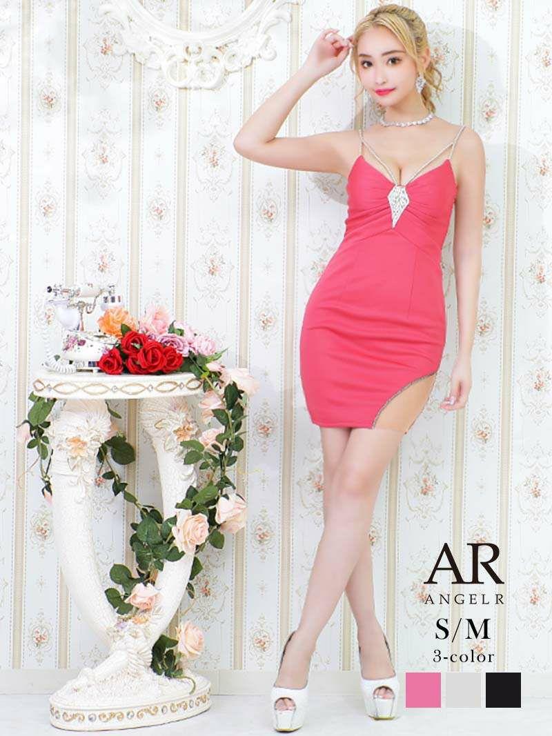 【Angel R/エンジェルアール】バックビジューキャミミニドレス ゆきぽよ 着用キャバクラドレス
