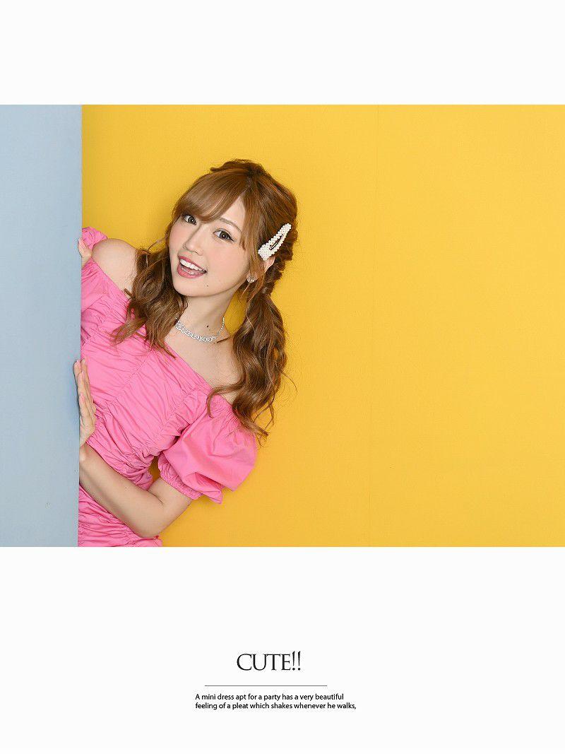 ビビッドカラー半袖ギャザーキャバワンピース【Ryuyuchick/リューユチック】