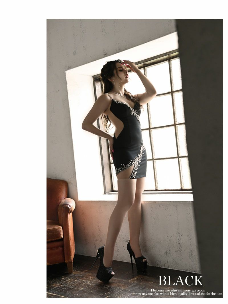 【Angel R/エンジェルアール】谷間魅せサイドカッティングキャミミニドレス あいみ 着用キャバクラドレス