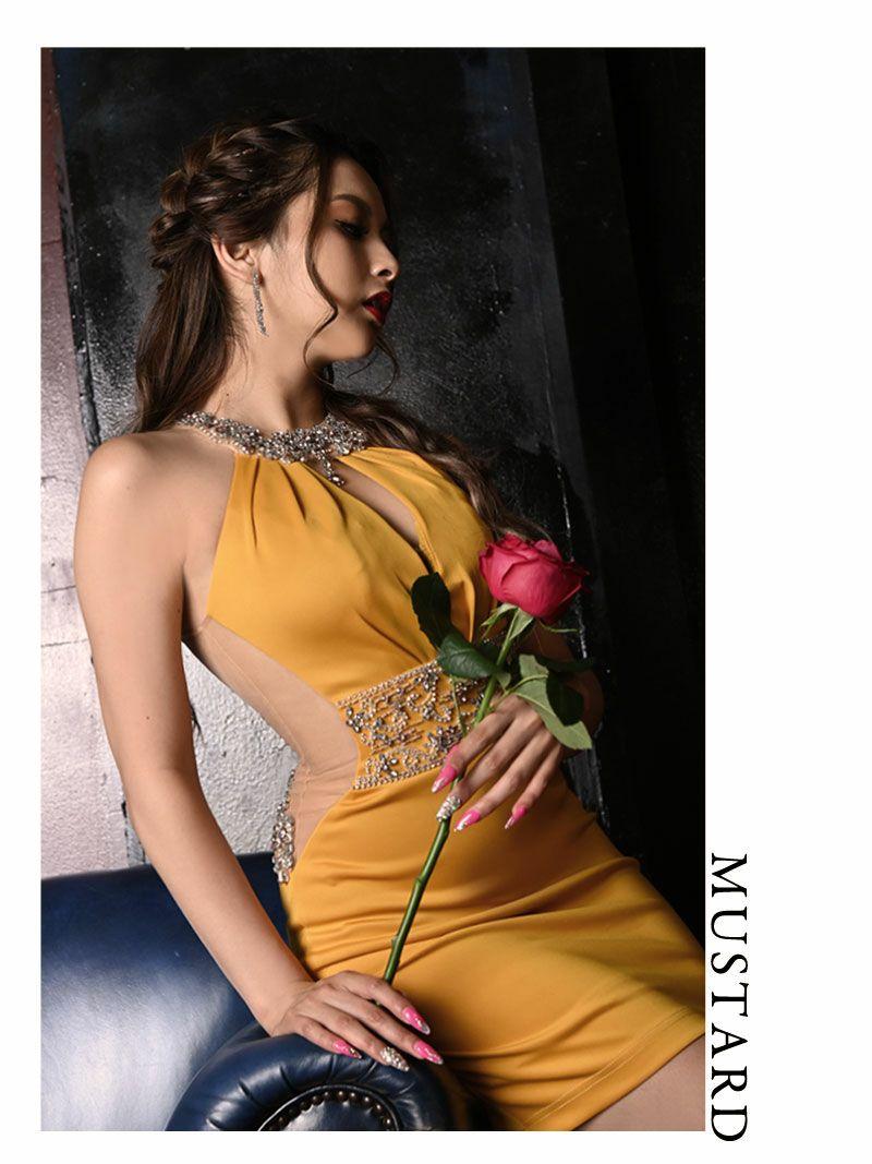 【Angel R/エンジェルアール】豪華ビジューバックシアーホルターネックミニドレス みりちゃむ ゆきぽよ 着用キャバクラドレス