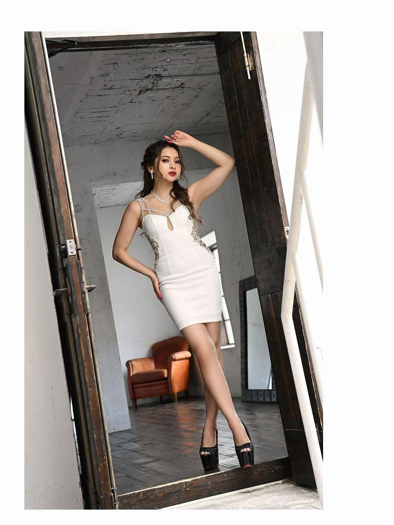 【Angel R/エンジェルアール】パールフラワービジューサイドカッティングミニドレス ゆきぽよ 着用キャバクラドレス