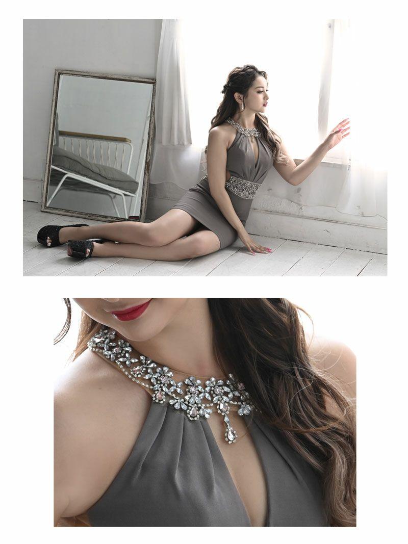 【Angel R/エンジェルアール】ホルターネック谷間魅せウエストビジューミニドレス ゆきぽよ みりちゃむ 着用キャバクラドレス