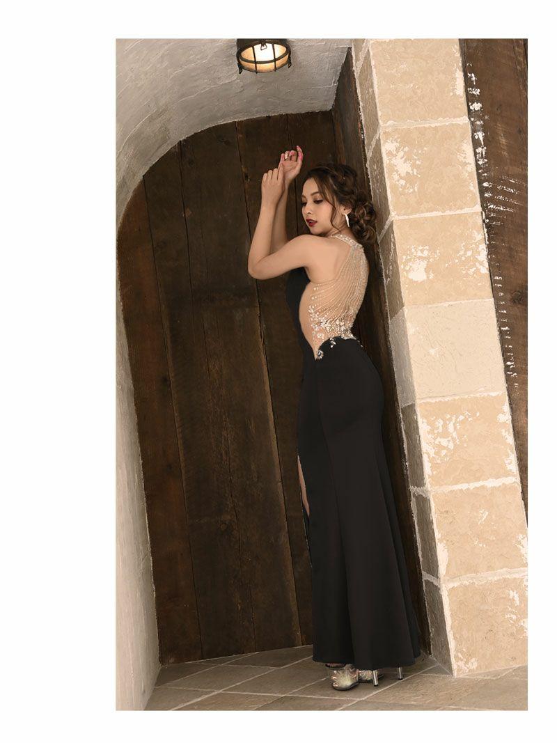 【Angel R/エンジェルアール】バックメッシュビジュータイトロングドレス ゆきぽよ 着用キャバクラドレス