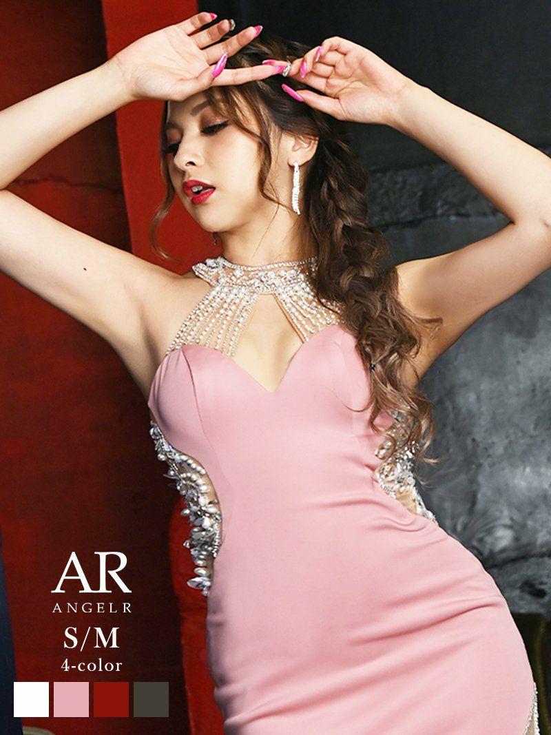 【Angel R/エンジェルアール】ホルターネックデコルテバックビジューミニドレス ゆきぽよ 着用キャバクラドレス
