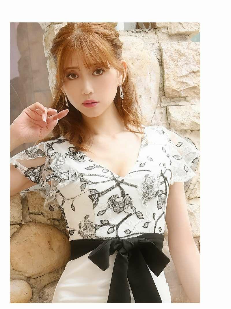 フラワー刺繍レースフリル袖ウエストリボンミニドレス ゆきぽよ 着用キャバクラドレス【Belsia/ベルシア】