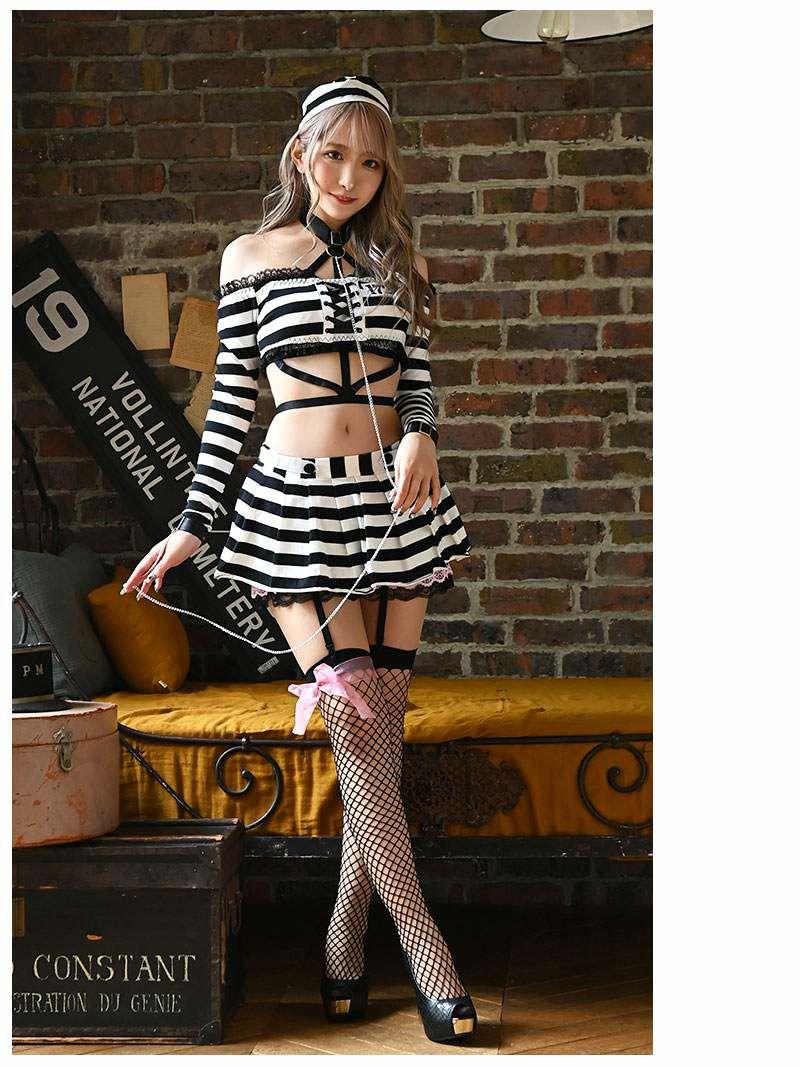 【即納】ハロウィン囚人服オフショルセットアップコスプレ ゆとりなお 着用レディースコスプレ8点セット