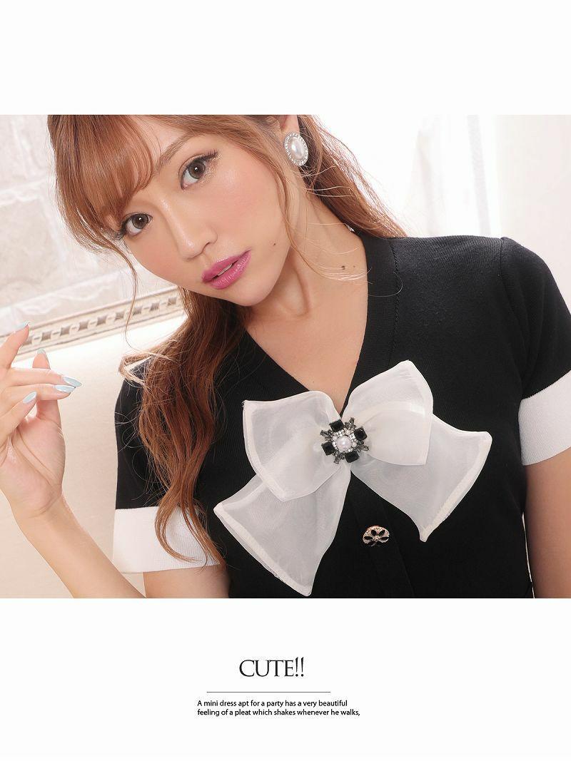 袖付きリボンフェイクボタン薄手ニットキャバワンピース【Ryuyuchick/リューユチック】