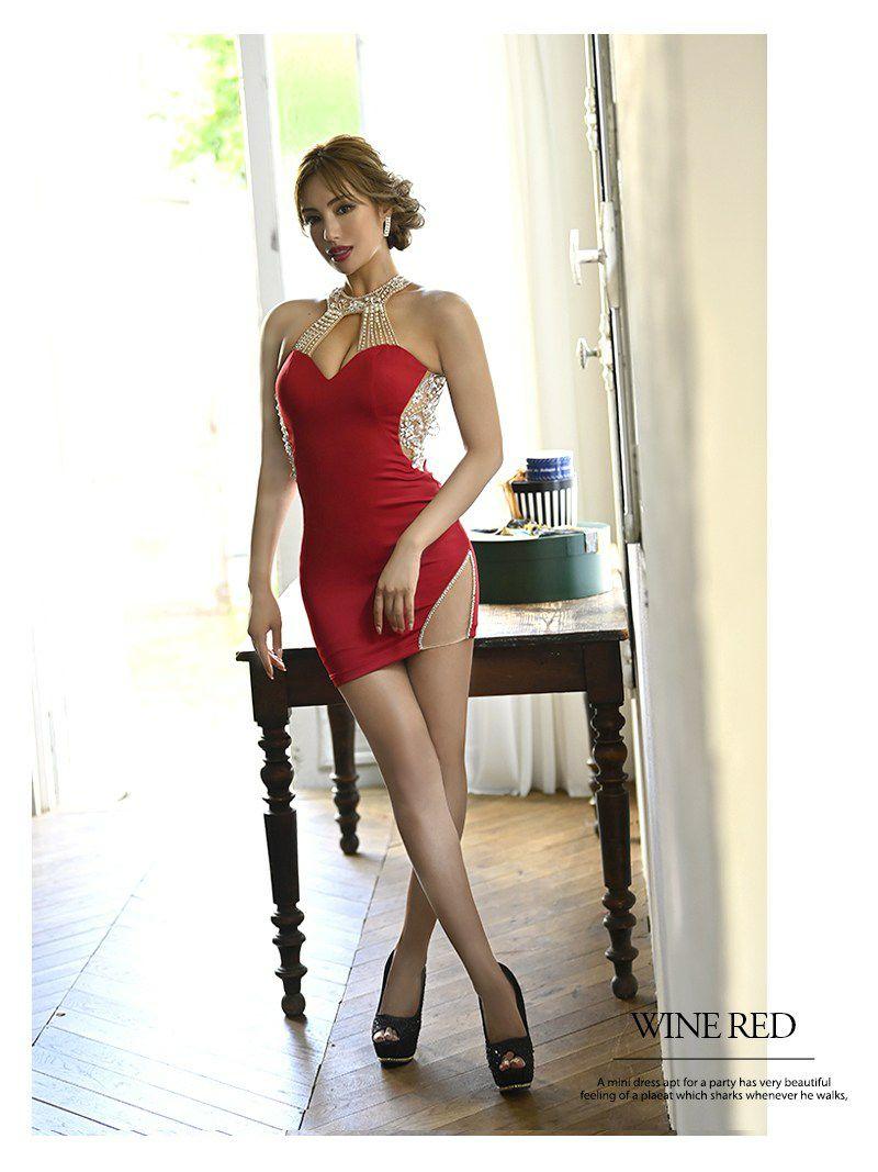 大胆背中魅せウエストシアービジューホルターネックミニドレス ゆずは 着用キャバクラドレス