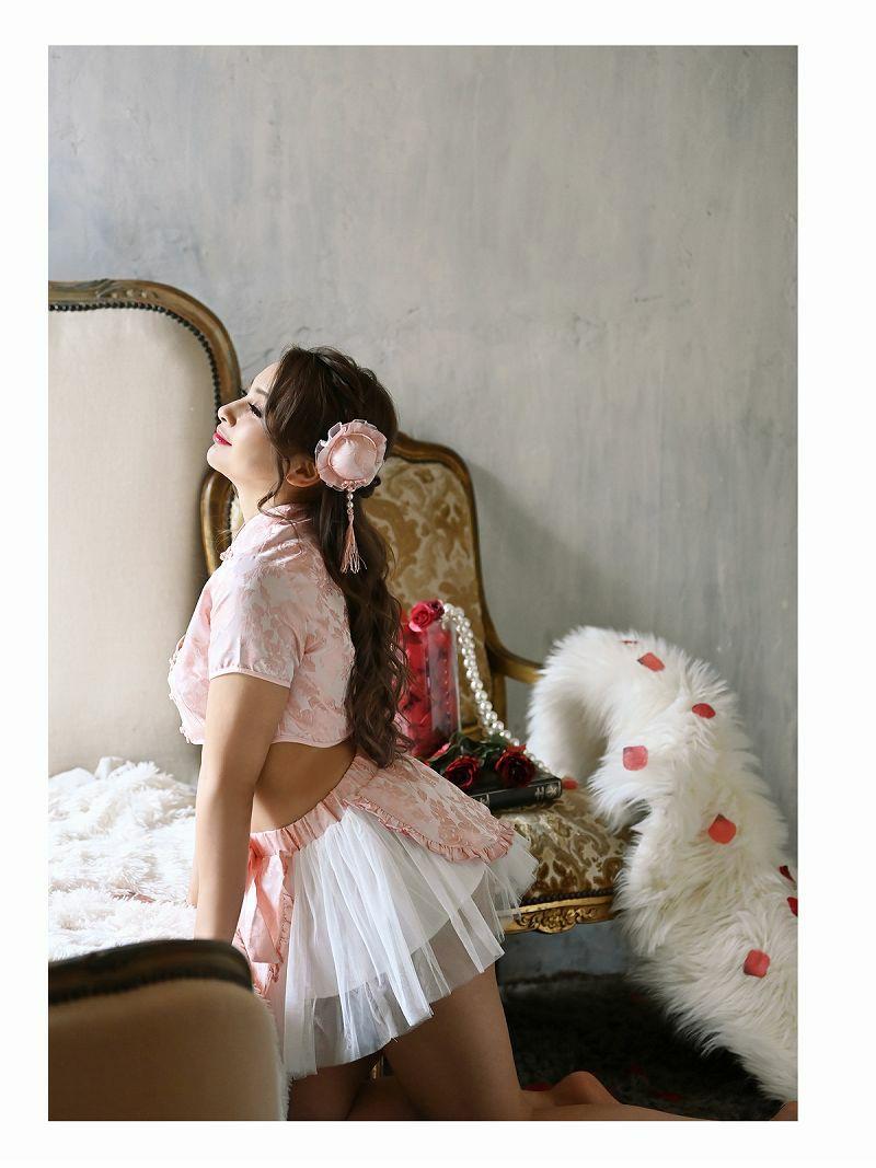 【即納】ハロウィンパステルピンクチャイナ服ランジェリーコスプレ ゆきぽよ 着用レディースコスプレ3点セット