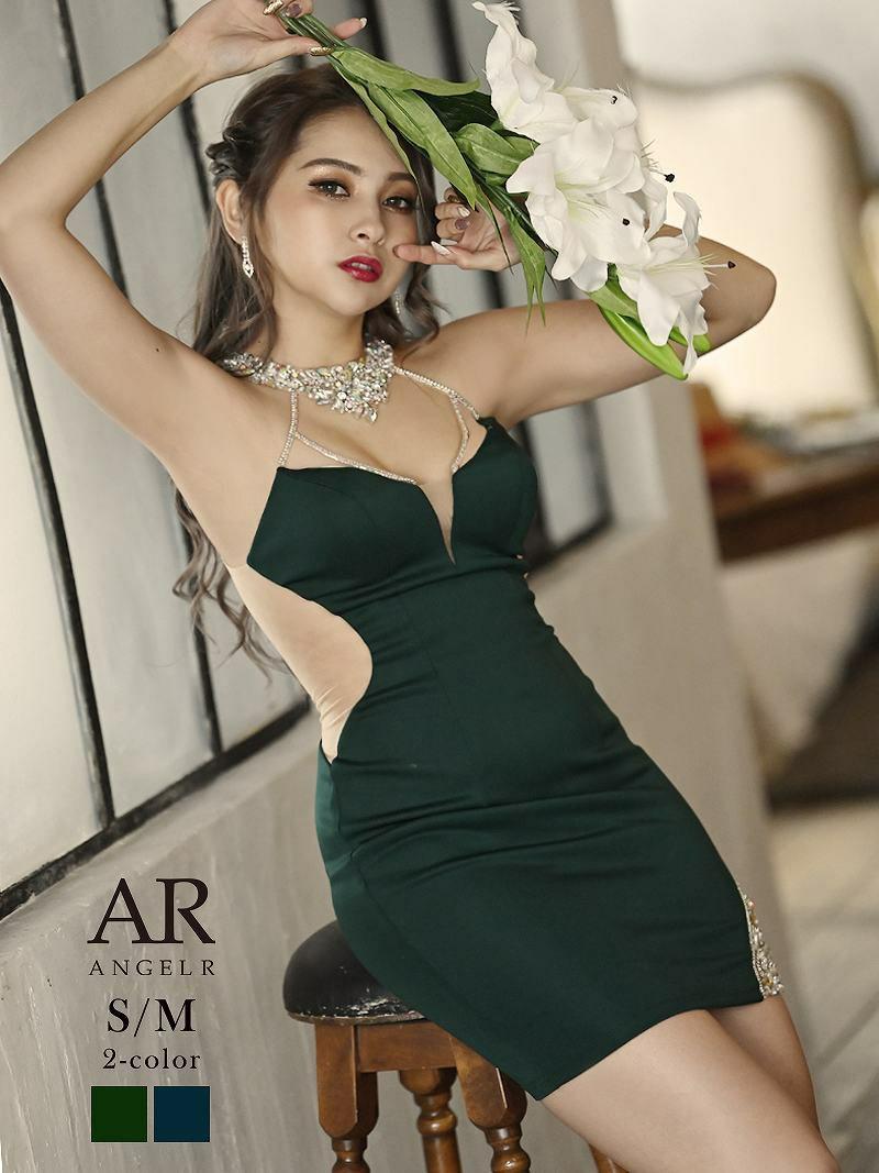 【Angel R/エンジェルアール】豪華ビジューネックサイドシアーミニドレス ゆきぽよ着用キャバドレス